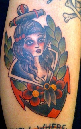 anchor, traditional sailor girl tattoo