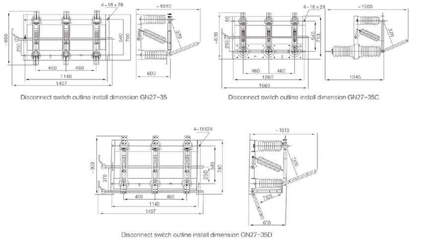 GN27-40.5 indoor high voltage disconnect switch,indoor