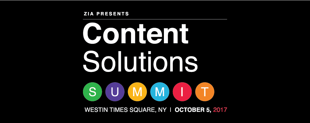 Join the Content Solutions Summit 2017 in New York City