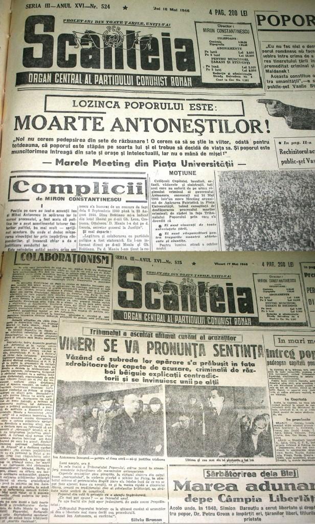 Scanteia Mai 1946 - Moarte Antonestilor - Miron Constantinescu si Silviu Brucan via Ziaristi Online