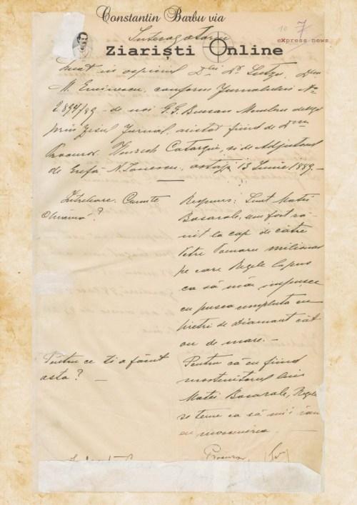 Interogatoriu Mihai Eminescu - Document Constantin Barbu via Ziaristi Online