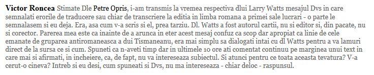 Roncea vs Opris despre Larry Watts