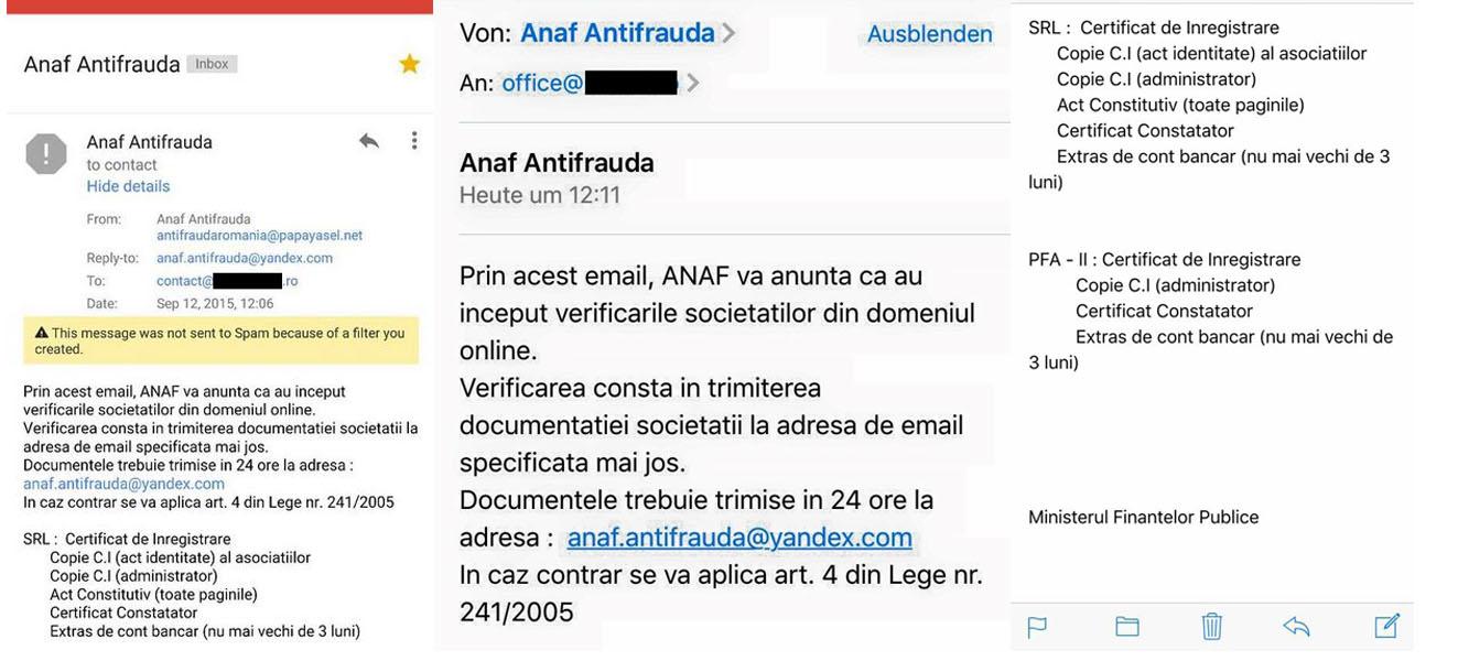 Direcția Antifraudă avertizează asupra unor tentative de phishing