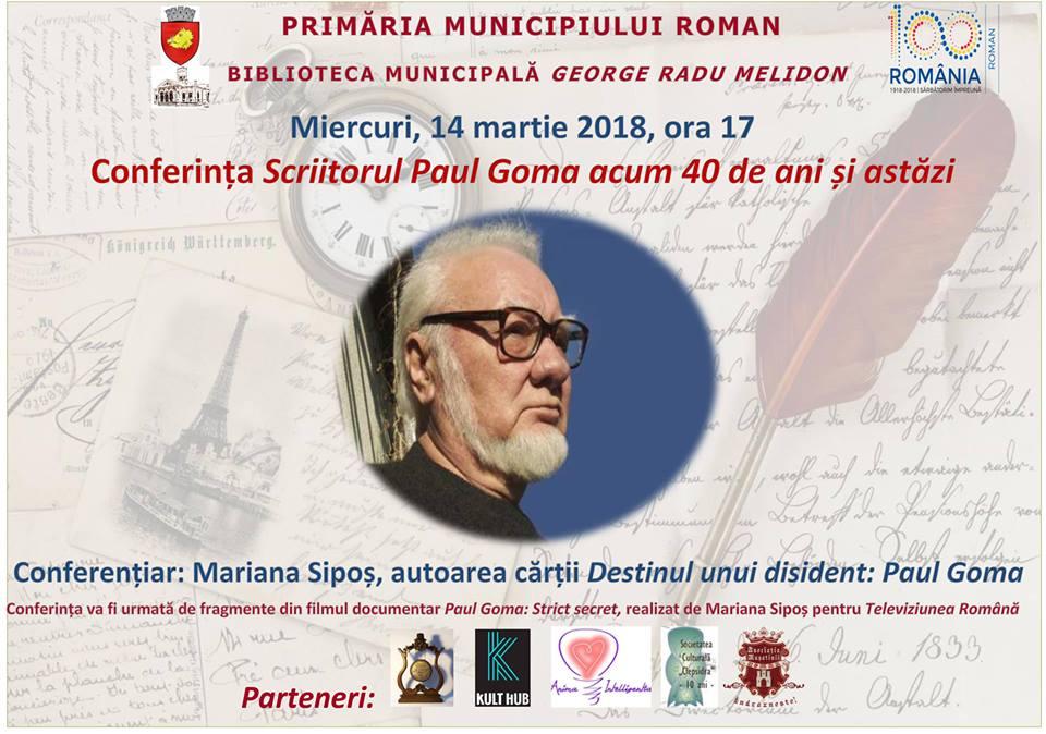 """Conferința """"Scriitorul Paul Goma acum 40 de ani și astăzi"""", miercuri, la Biblioteca Municipală"""