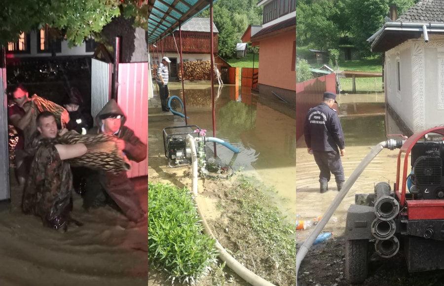 [FOTO] Pagube importante produse de ploile de luni: zeci de gospodării inundate, zone fără curent, drumuri blocate de aluviuni