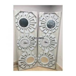 White Decorative Wall Clock And Mirror Set