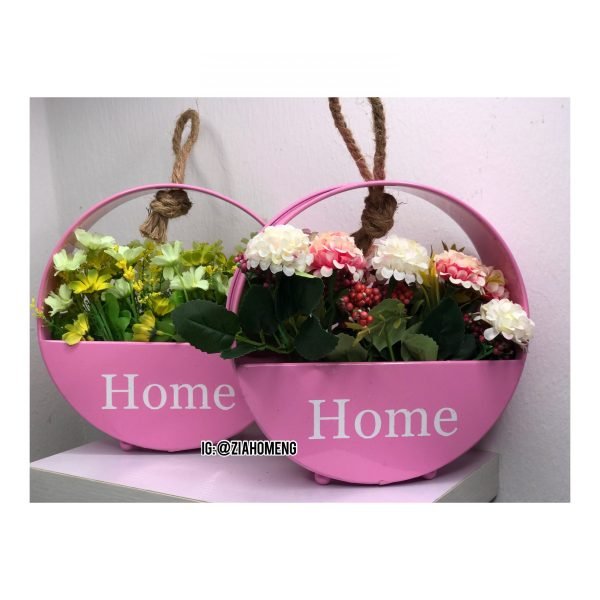 Pink Home Metal Hanging Flower Pots