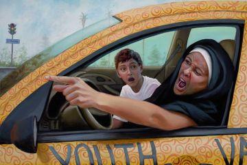 I dipinti provocatori di Christina Ramos specializzata in realismo figurativo raffigurano le monache come peccatrici.