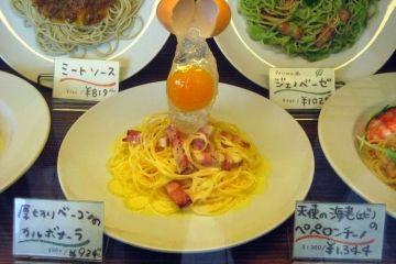 Nei ristoranti giapponesi non ci sono solo i menù ma anche  le riproduzioni in plastica delle pietanze