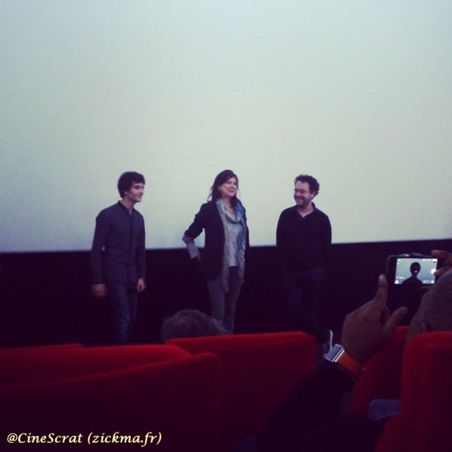 Anthony Sonigo (acteur), Anne-Dominique Toussaint (productrice) et Riad Sattouf (réalisateur) lors de la projection blogueurs chez Pathé Films