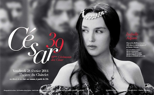"""Affiche officielle des Césars 2014.  Isabelle Adjani dans """"La reine Margot"""" de Patrice Chéreau (1994)"""