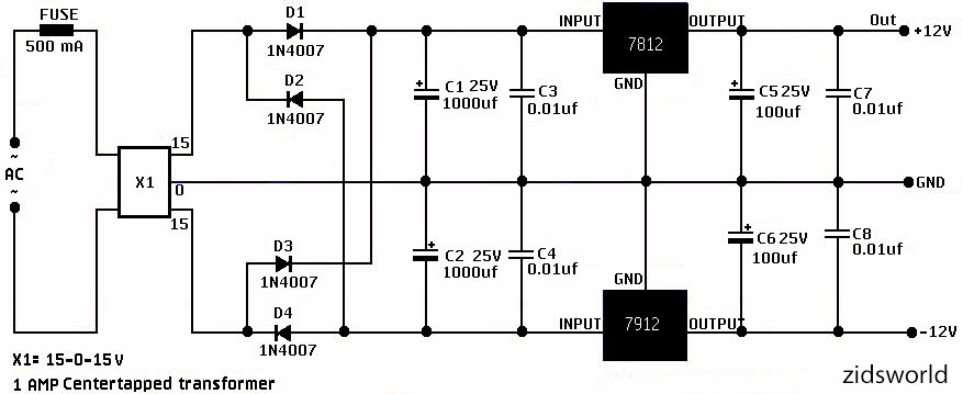 12v dc dual power supply circuit diagram