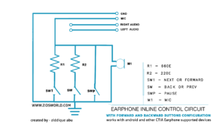 Android earphone inline music control circuit