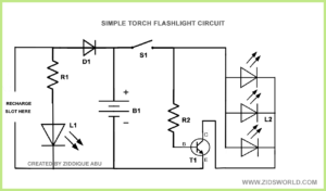 Led flash light torch light circuit diagram