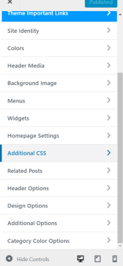 theme menu wordpress
