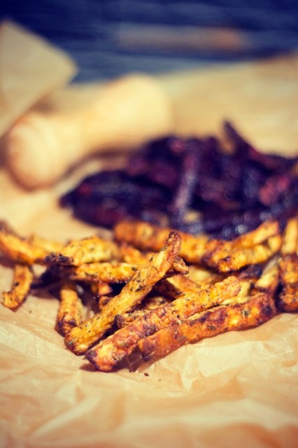 Beetroot and celery fries