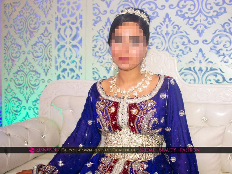 Marokkaanse trouwjurk Keizer Blauw, Bordeaux Rood en Zilver