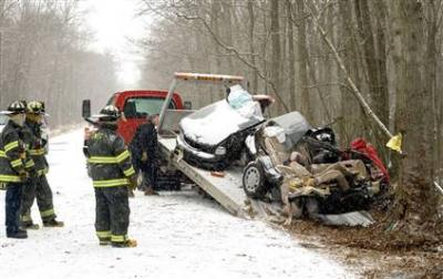 snow car crash - New York Injury Lawyer Recommends Preventative Maintenance On Your Car This Winter