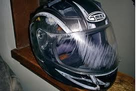 damaged motorcycle helmet