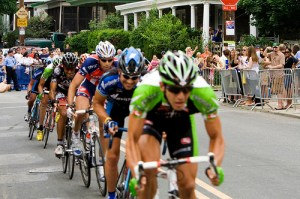 Bicycle racers drafting