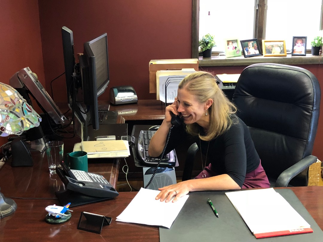 Attorney Christina Sonsire calls her client Thursday with the good news about the State Appeals Court judges' decision.