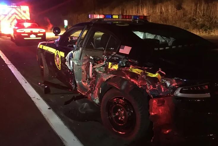 Trooper car - Dangerous Drunk Trucker Jailed After Crashing Into Trooper On Route 17
