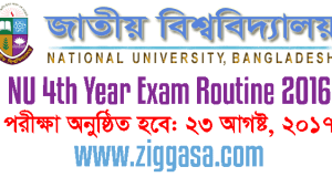 NU Honours 4th Year Exam Routine 2016
