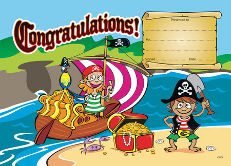 Pirate Tresaure Congratulations Certificate Pack 35 - Ziggies ...