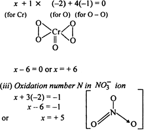 Calculate the oxidation number of sulphur, chromium and