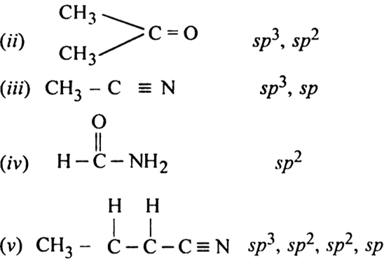 What is the type of hybridisation of each carbon in the