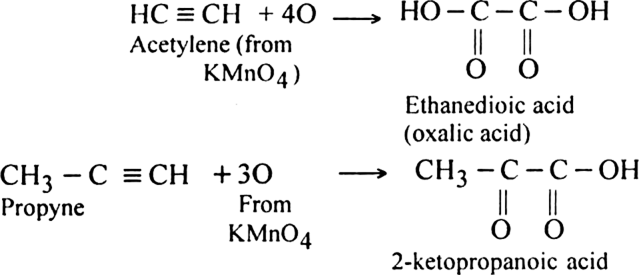 Discuss in brief the oxidation reactions of alkynes. from