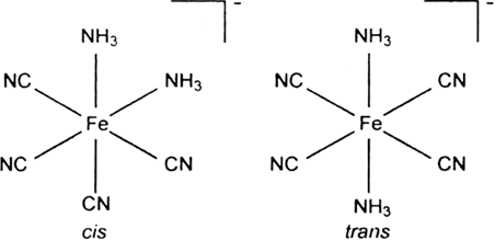 Draw structures of geometrical isomers of [Fe(NH3)2(CN)4