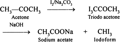 How is acetone converted into iodoform? from Chemistry