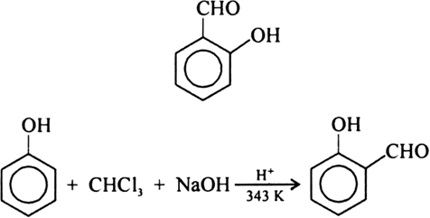 Which reaction of phenol with CHCl3 in NaOH followed by