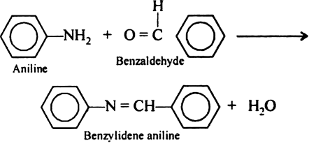Write the reaction between aniline and benzaldehyde. from