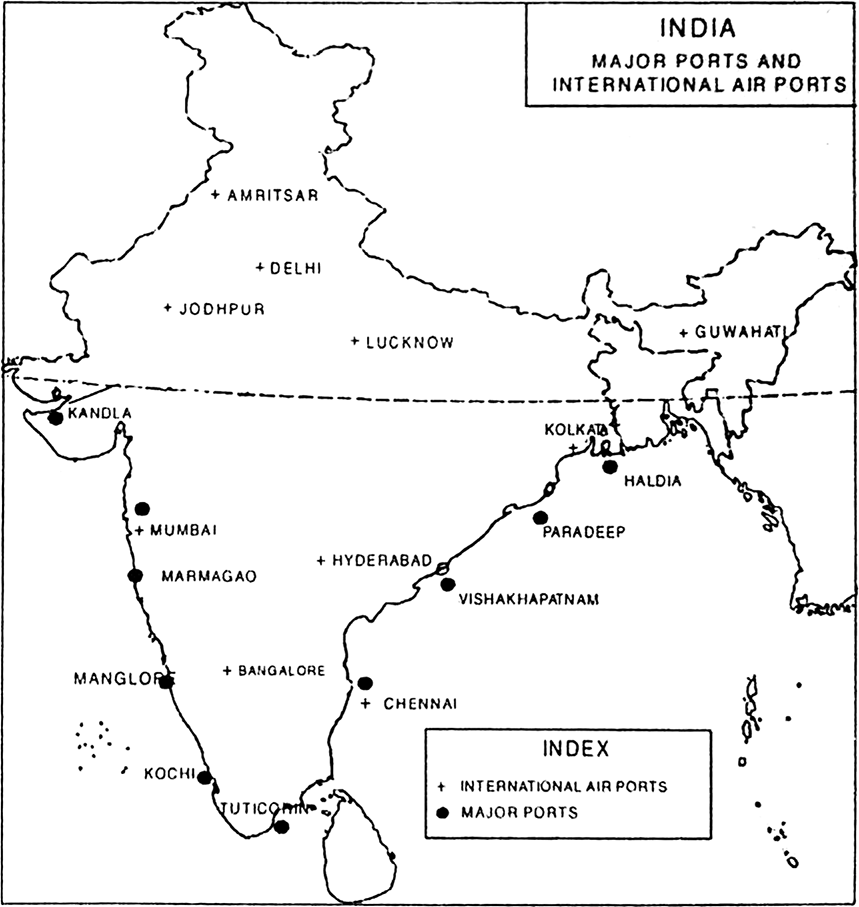 On an outline map of India show the(i) Major ports, (ii