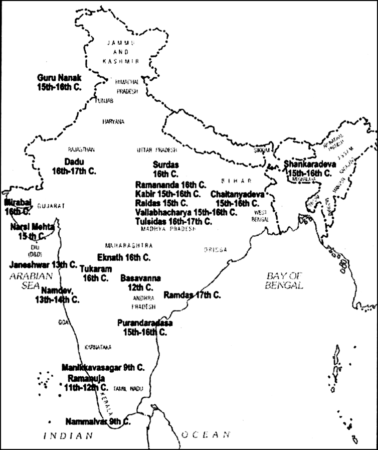 On an outline map of India show the major bhakti saints