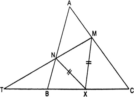 Let X be any point on the side BC of a triangle ABC. If XM