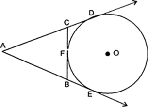 In the following figure, if AD, AE and BC are tangents to