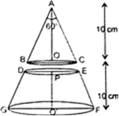 Derive the formula for the volume of the frustum of a cone