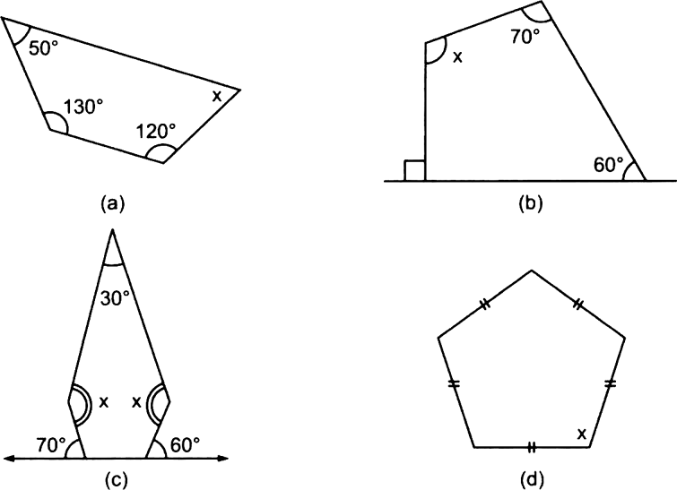 Find the angle measure x in the following figures. from