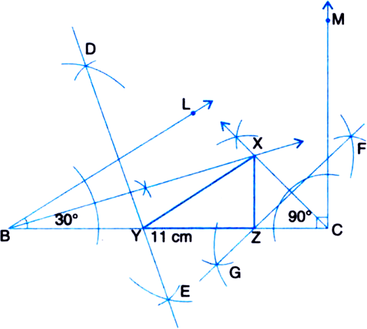 construct a triangle xyz in which y