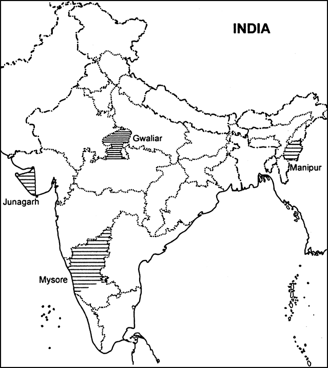 Take a current political map of India (showing outlines of