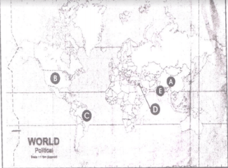 In the given political outline map of the world, five