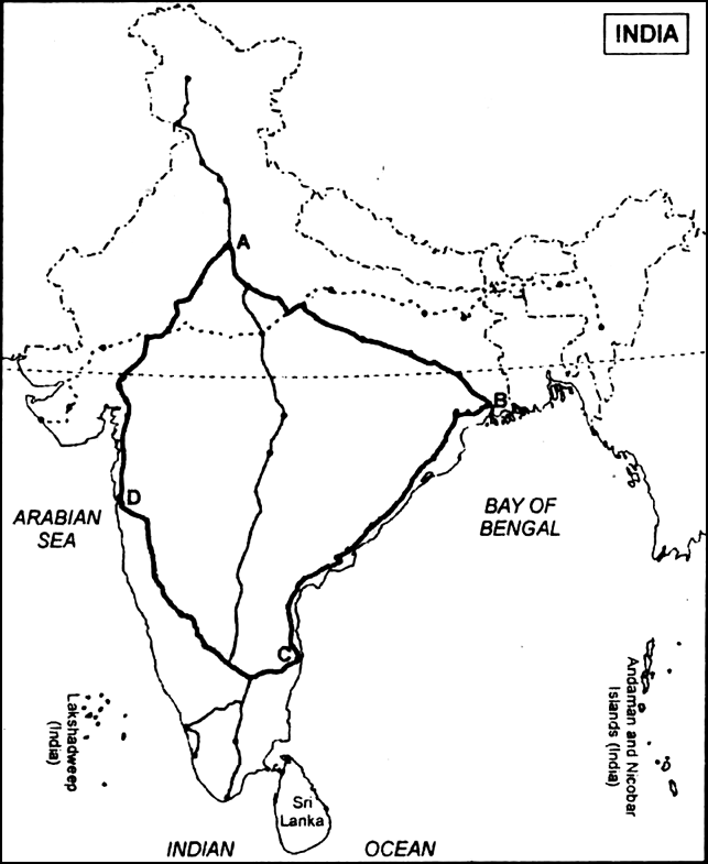 Read the map given below, showing national highway