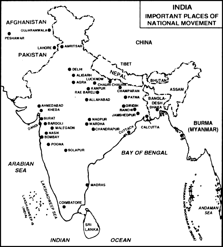 Spot the important places of Indian National Movement: (a