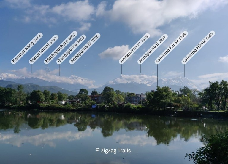 View of Annapurna Purna mountain ranges and Mount Fishtail from Phewa Lake. Name of visible peaks from Pokhara.