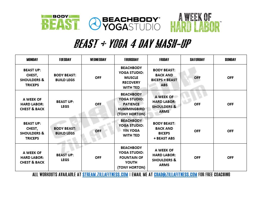 Printable Body Beast Schedule