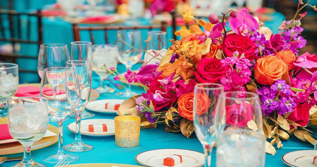Place setting at a ZHG wedding