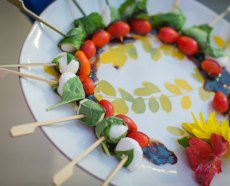 Tomato, bocconcini and basil skewer